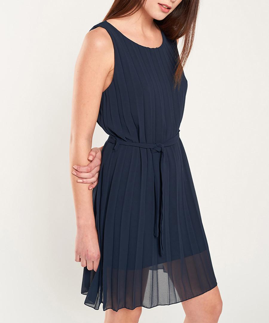 Navy pleated mini dress Sale - dioxide