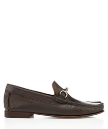 Habary walnut leather horsebit loafers