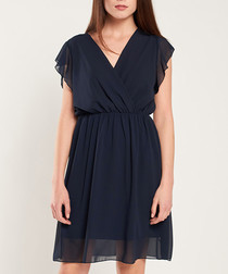 Navy short sleeve sheer mini dress