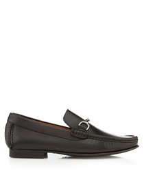 Habary black leather horsebit loafers