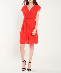 Red short sleeve sheer mini dress