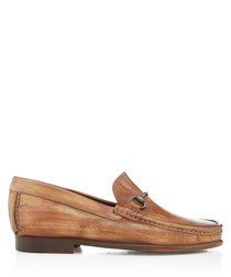 Haliut tan leather horsebit loafers
