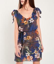 Navy floral print shoulder-tie dress