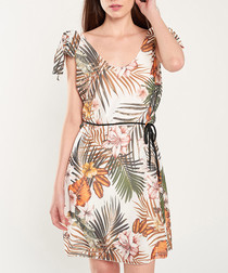 Ecru floral print shoulder-tie dress