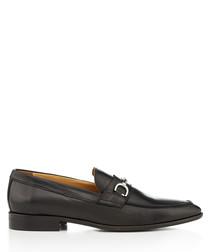 Hervosa black leather horsebit loafers