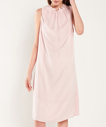 Pale pink ruched neck shift dress