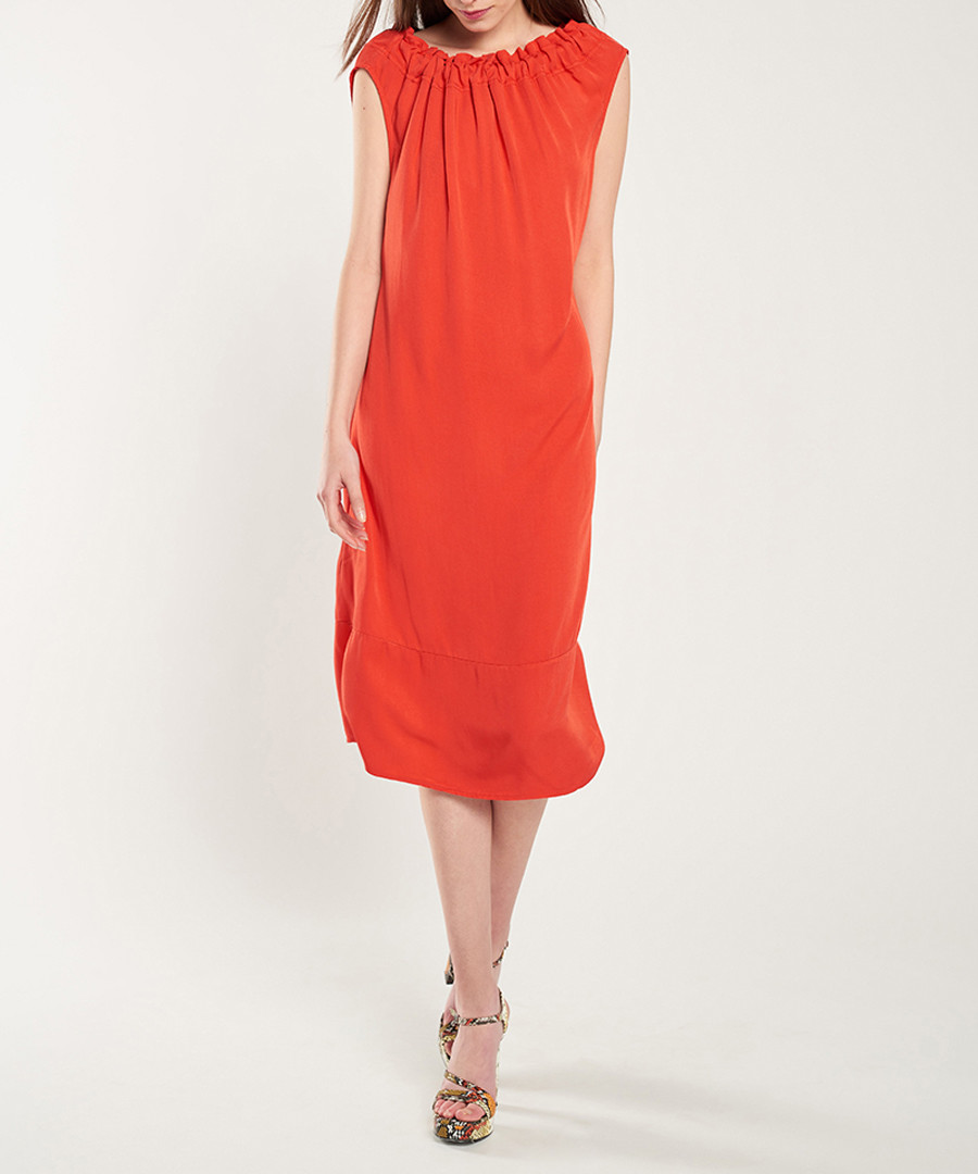 Red ruched neck shift dress Sale - dioxide