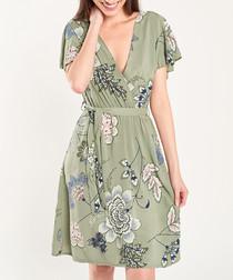 Khaki floral print wrap front dress