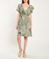 Khaki floral print wrap front dress Sale - dioxide Sale