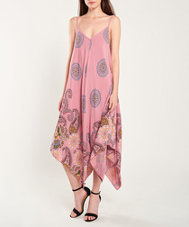 Rose quartz print asymmetic midi dress