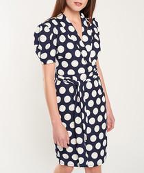 Navy & white polka dot mini dress