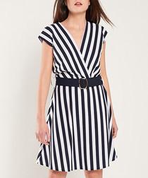 Navy & white stripe mini dress