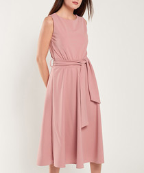 Rose quartz tie-waist midi dress