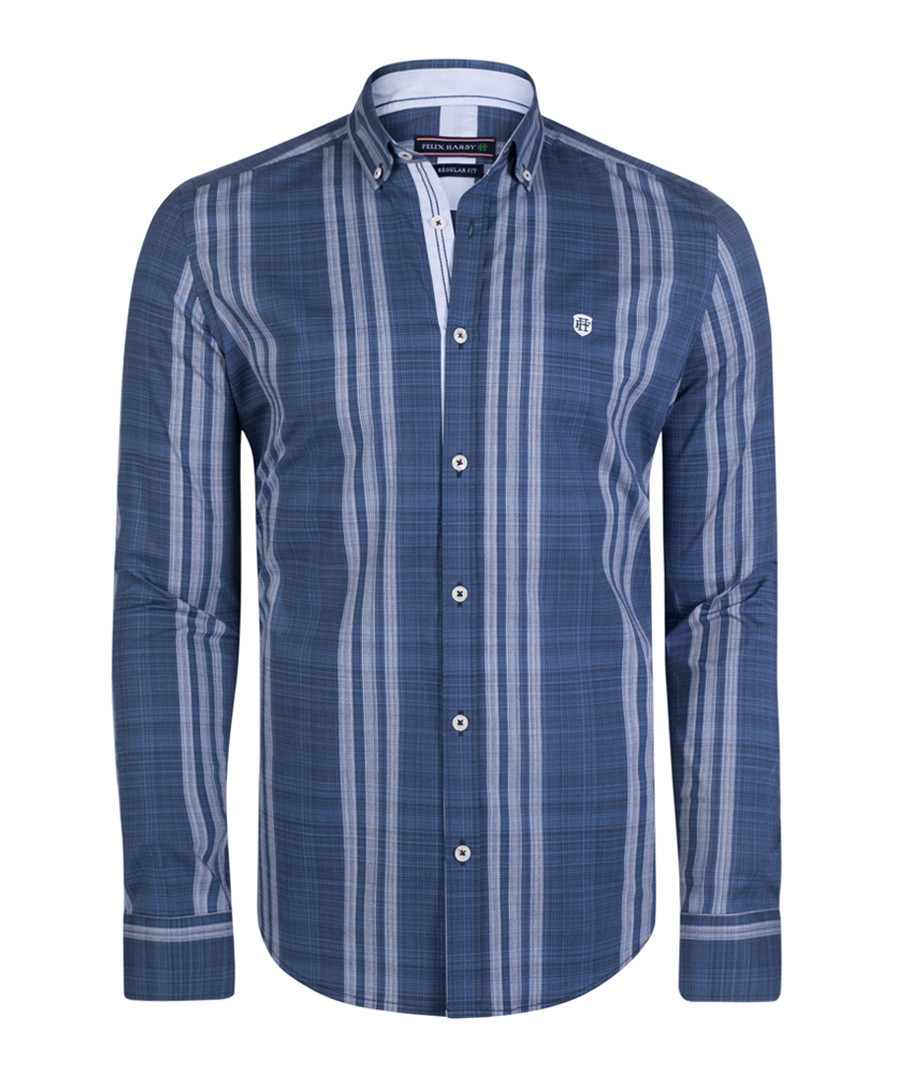 Blue stripe pure cotton shirt Sale - felix hardy