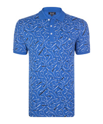 Sax print pure cotton polo shirt