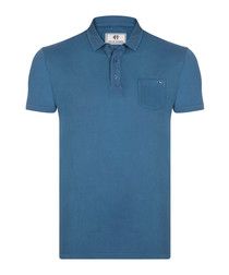Indigo pure cotton polo shirt
