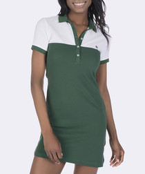 Green & white pure cotton polo dress