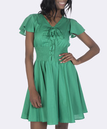 Emerald green cotton pleated dress