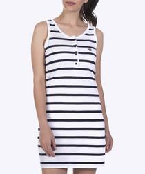 Navy & white pure cotton stripe dress