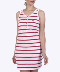 Red & white pure cotton stripe dress