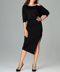 Black cold-shoulder split midi dress