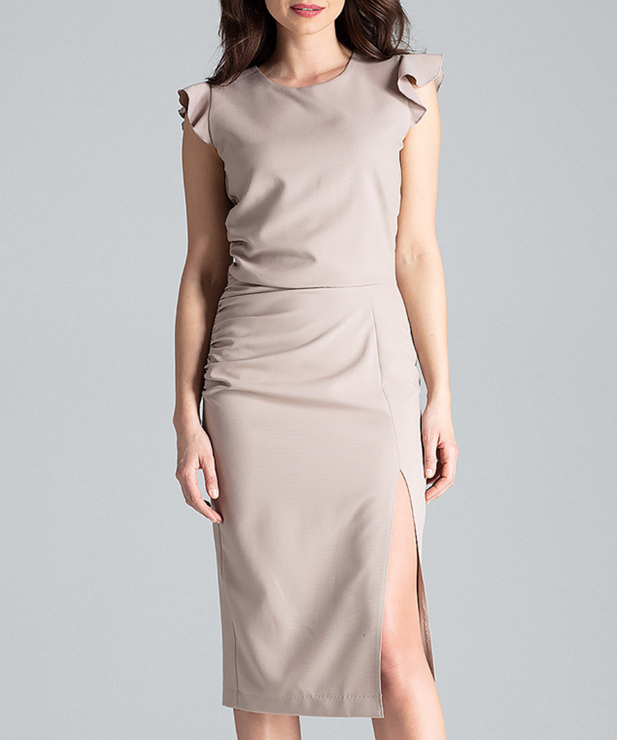 Beige ruffle cap sleeve midi dress Sale - lenitif