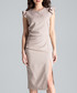 Beige ruffle cap sleeve midi dress Sale - lenitif Sale