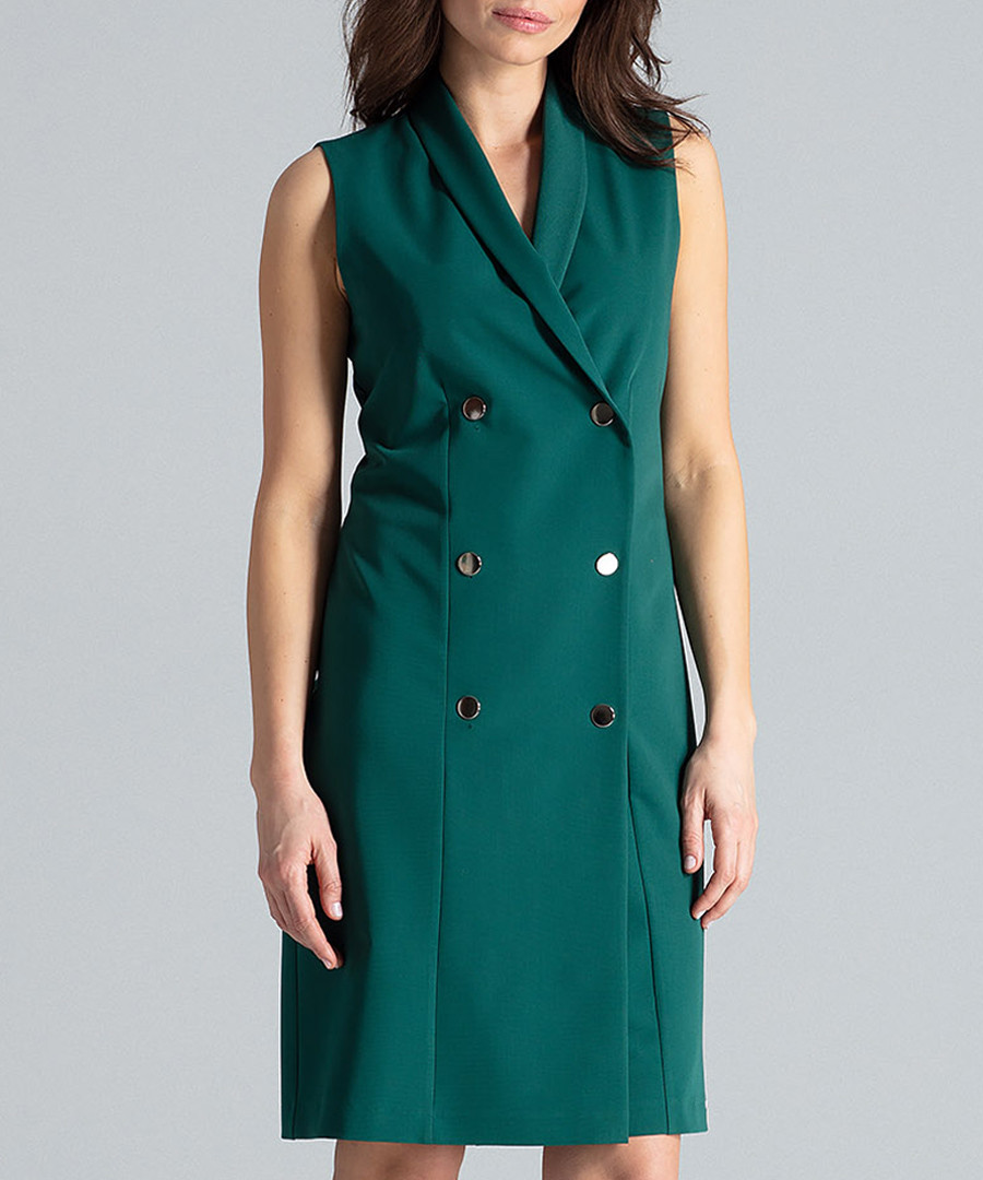 Green double breasted tuxedo dress Sale - lenitif