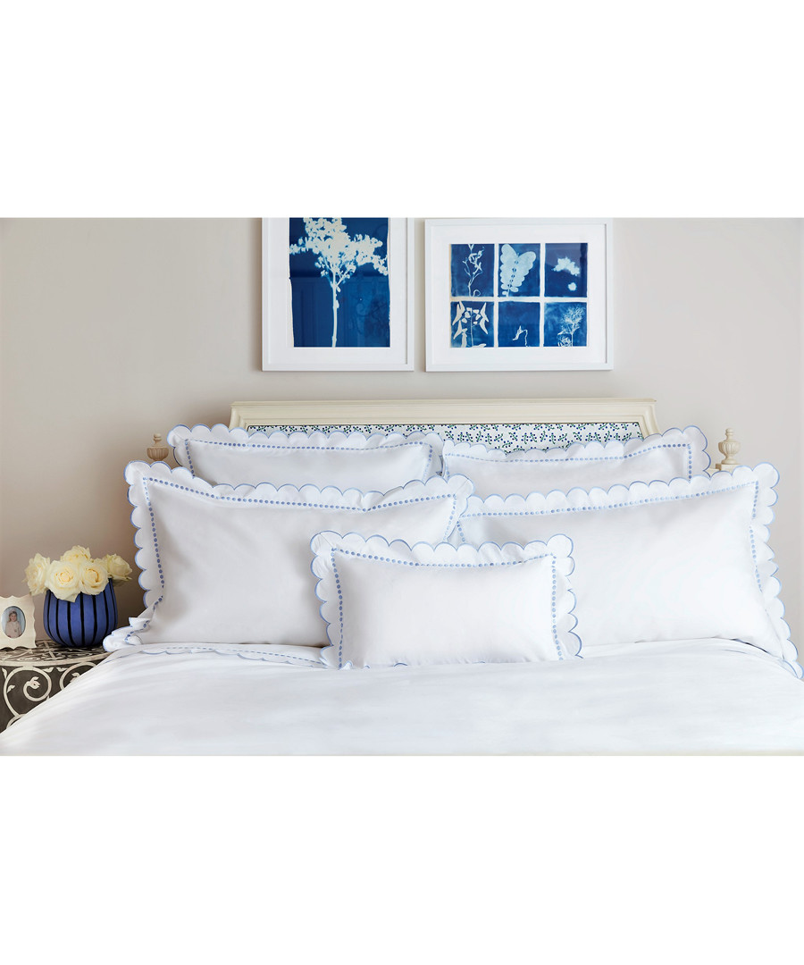 Blue frill pure cotton pillowcase 75cm Sale - sophie conran