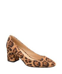 Leopard print block heels