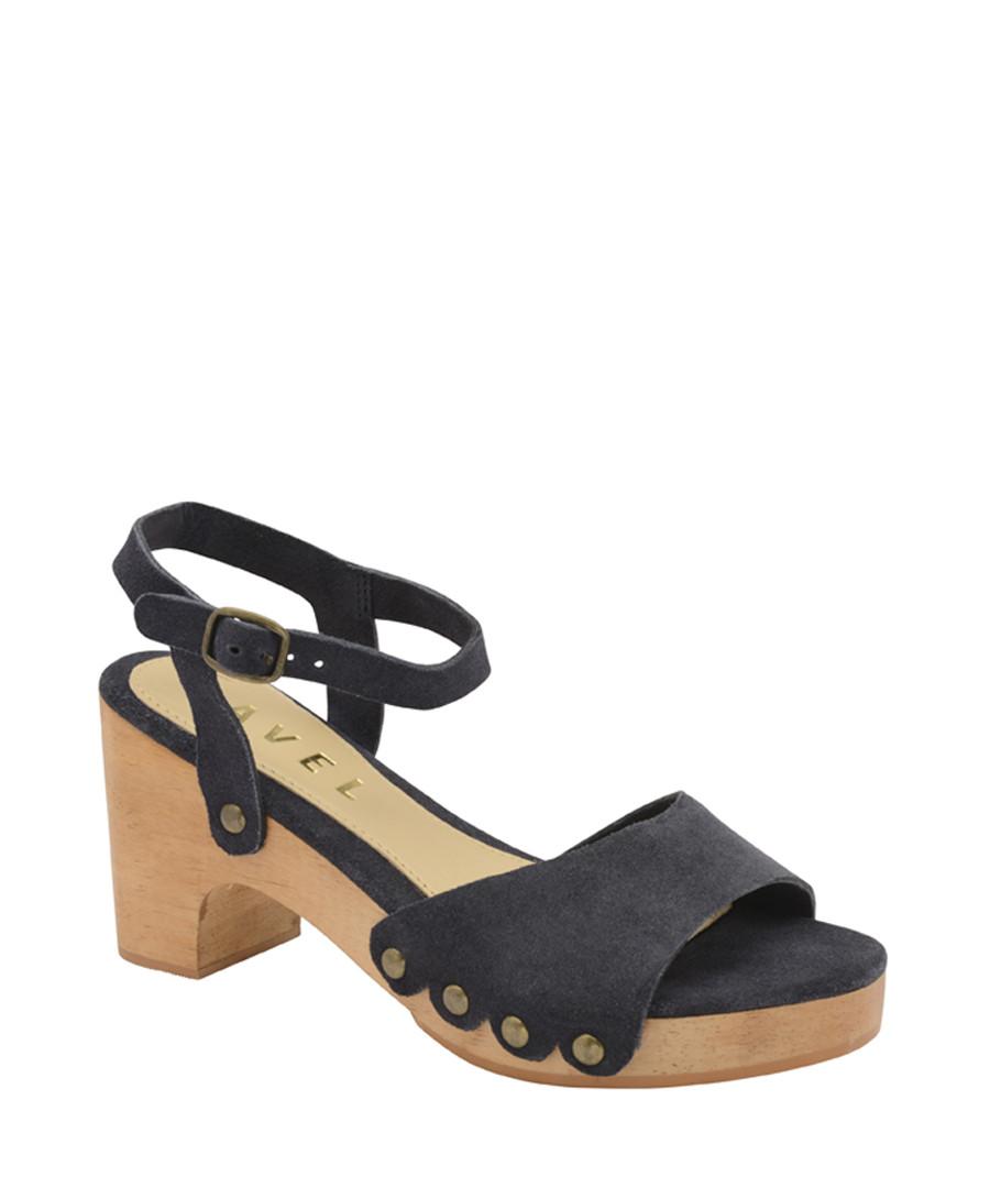 Navy leather block heel sandals Sale - ravel