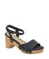 Navy leather block heel sandals Sale - ravel Sale