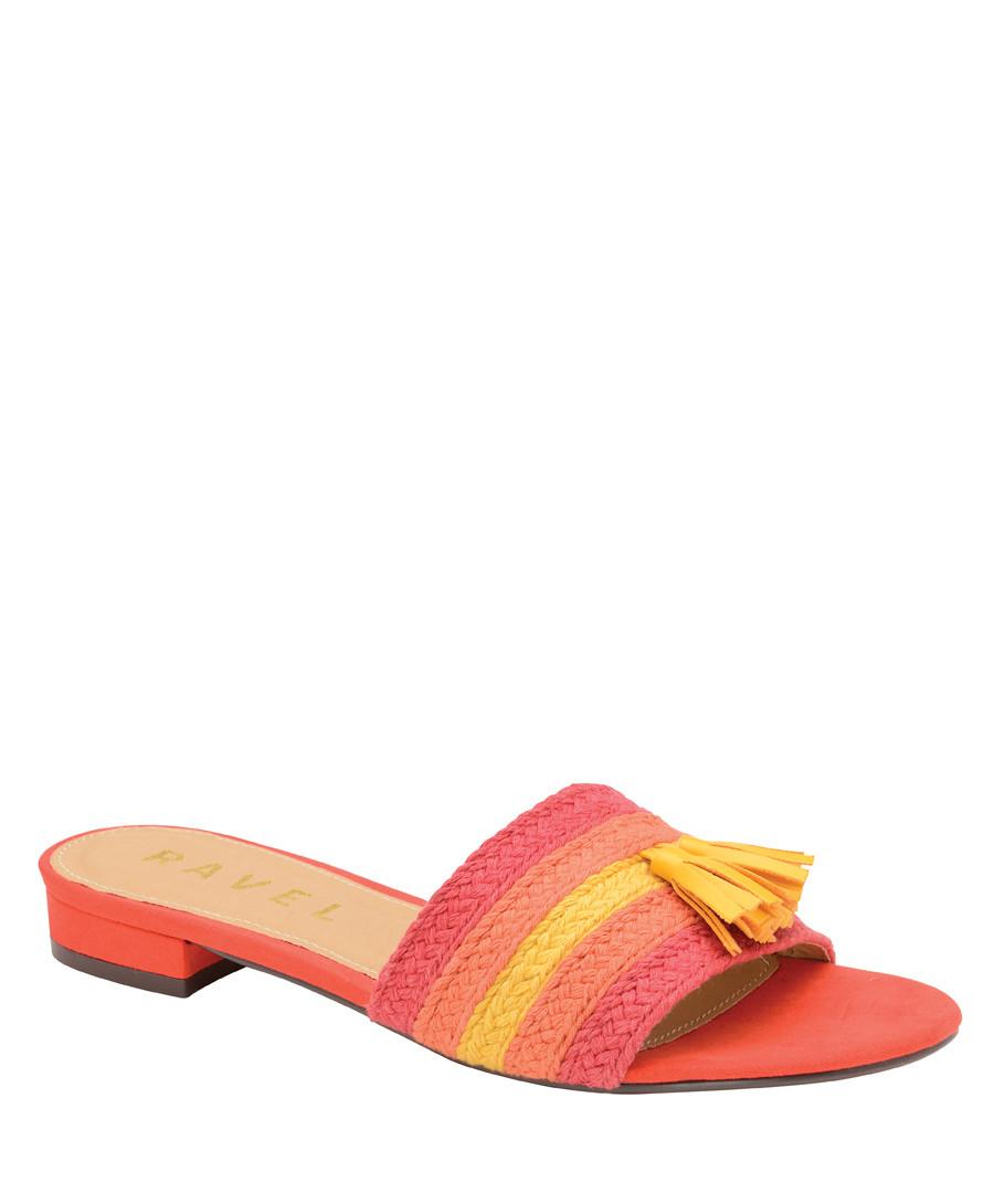 Red stripe tassel sandals Sale - ravel