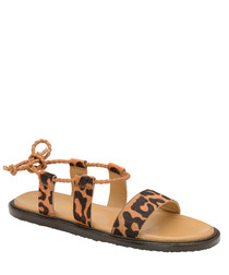 Leopard print tie-back sandals