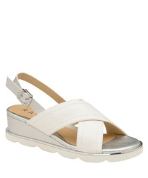 White & silver-tone cross-over sandals