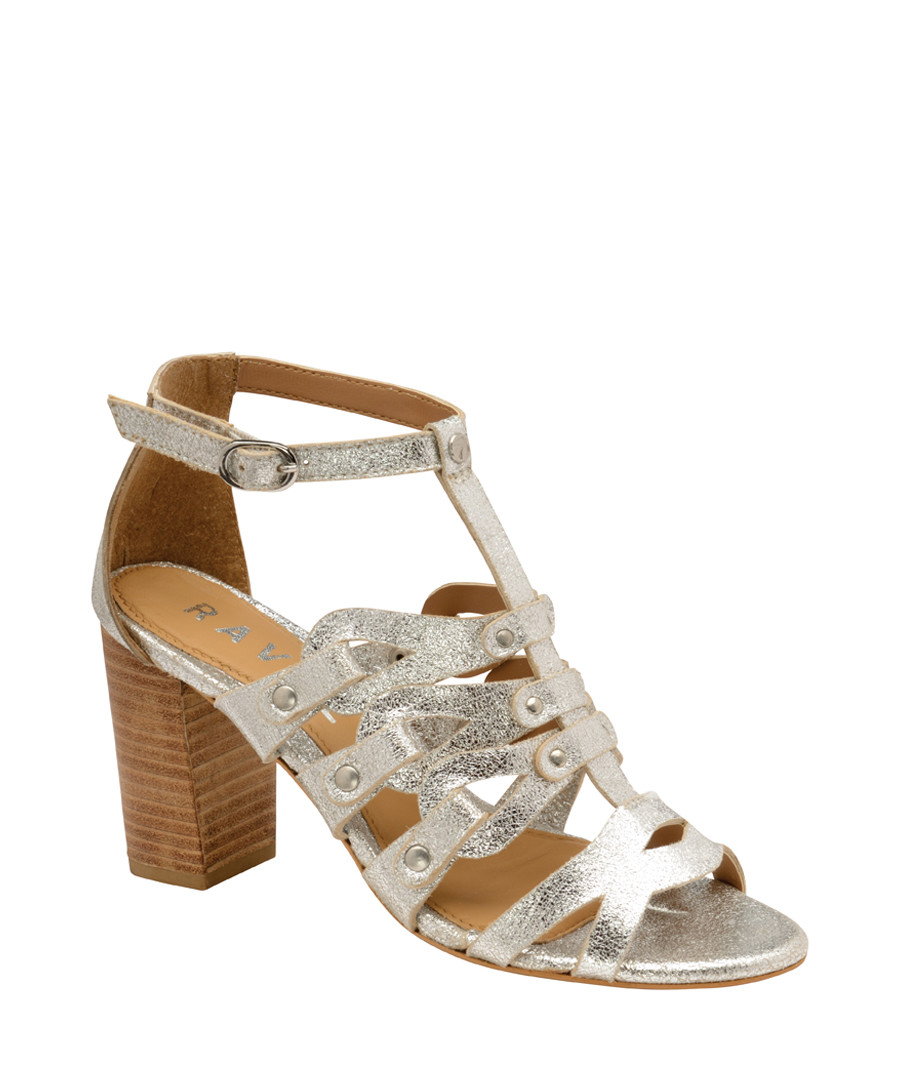 Silver-tone leather heeled sandals Sale - ravel