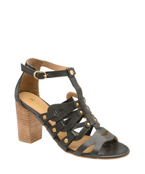 Black leather heeled sandals