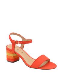 Red rainbow heel sandals