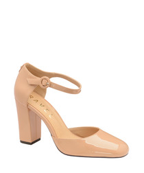 Nude patent strap heels