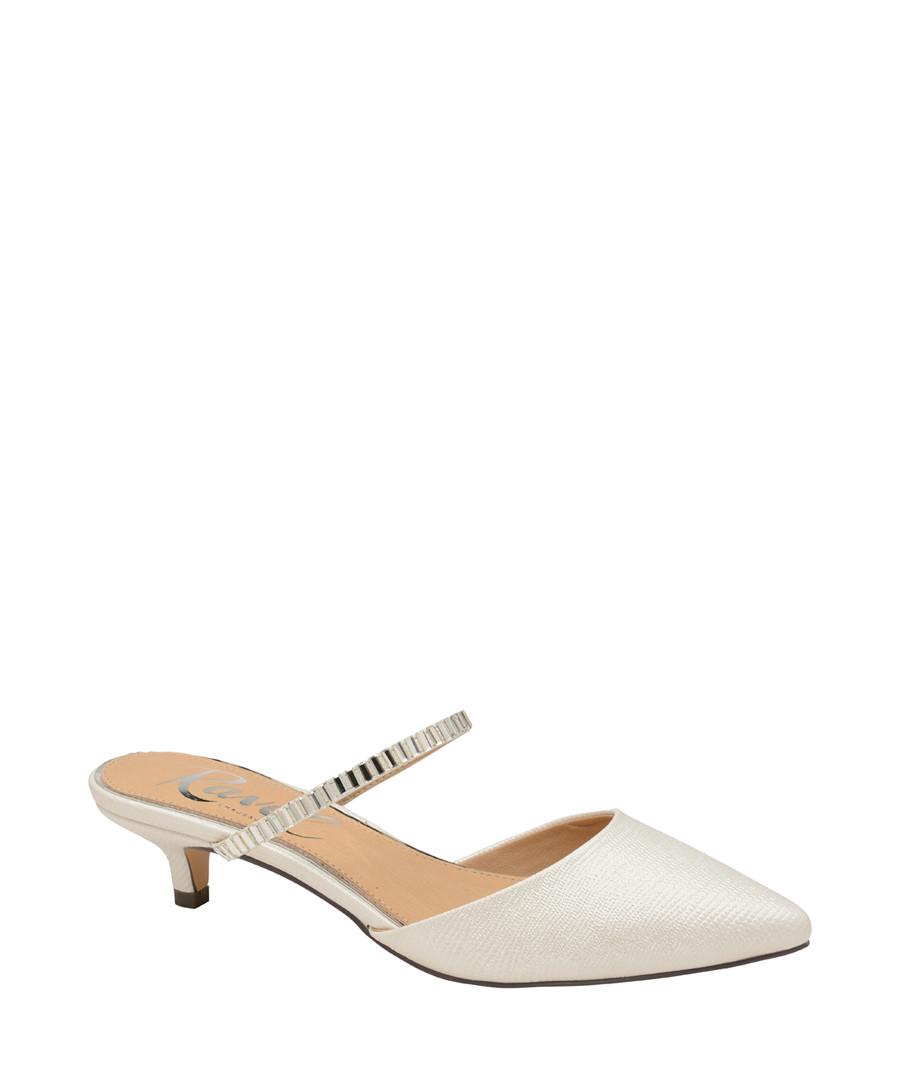 White embellished strap kitten heels Sale - ravel