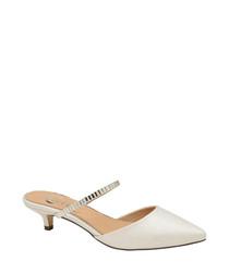 White embellished strap kitten heels
