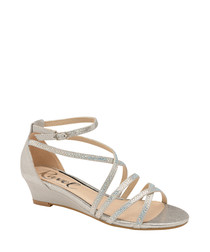 Silver strap wedge sandals