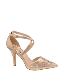 Rose gold-tone pointed floral heels