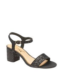Black glitter heeled sandals