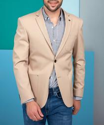 Beige cotton blend one-button blazer