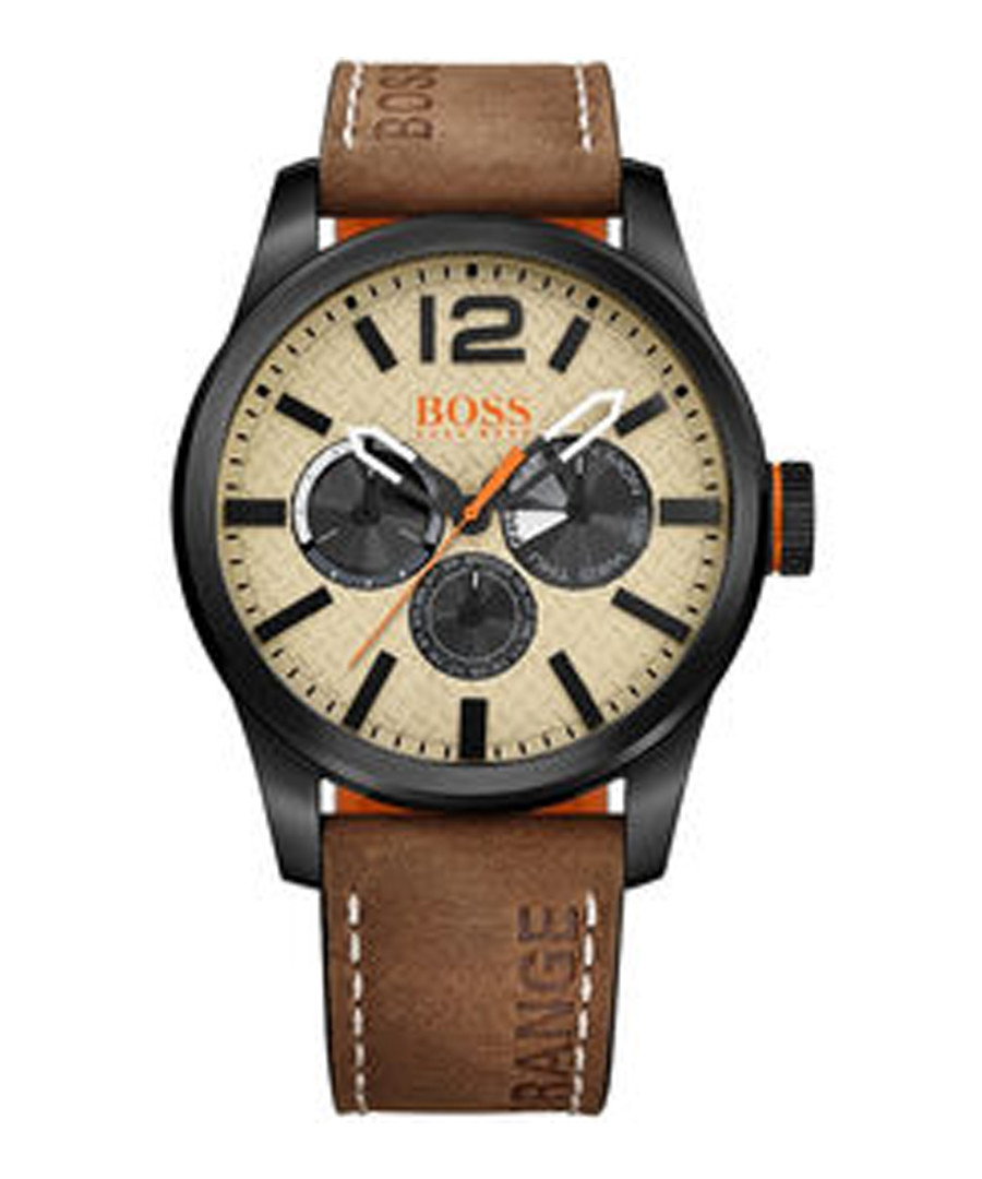 Orange brown & off-white dial watch Sale - boss orange