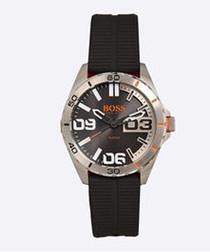Orange black stainless steel watch