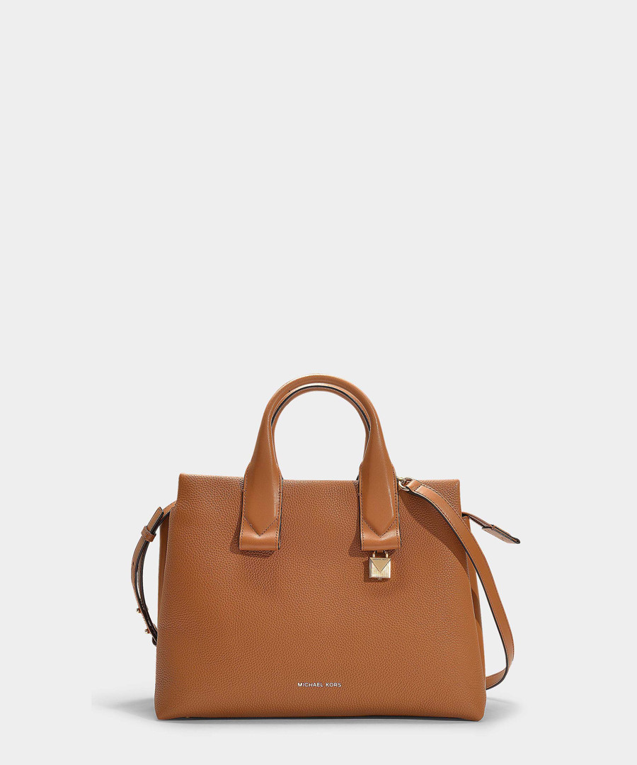Rollins Large brown leather tote Sale - michael michael kors
