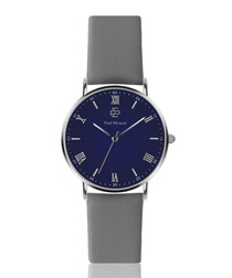 grey calf leather & navy watch