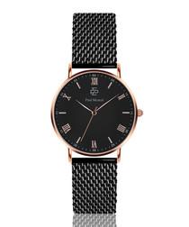 rose gold-tone & black steel mesh watch